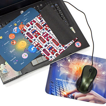 Promotional dual purpose 2 in 1 screen cleaners and mouse mats, personalised with company brand logos.
