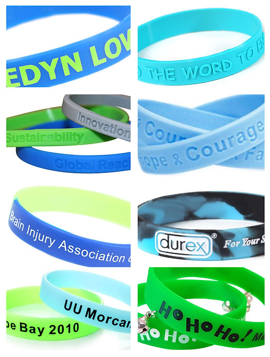 Promotional coloured silicone event wristbands, screen printed, embossed, debossed colour infill with company brand logos.
