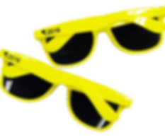 Promotional sunglasses classic wayfarer style plastic summer shades, customised printed with company logos, pantone matched.