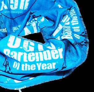 Blue and white promotional multi-functional snoods neckwear, printed seamless tubular bandanas, UK manufacturers