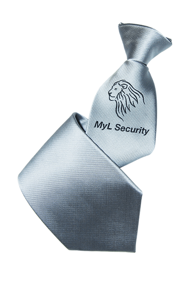 Custom-made promotional security company corporate uniforms, clip-on ties in silver branded with woven logo.