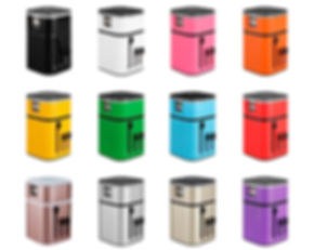 Promotional LED travel adaptors in pink, orange, yellow, green, blue, red, purple, silver, rose gold adapters.