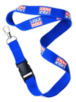 Promotional printed event lanyards for trade shows, printed company logos, pantone matched with safety break clip.