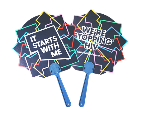 Branded summer promotional bespoke custom shape plastic hand held paddle fans printed with protest awareness campaign.