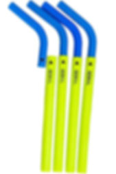 Low cost promotional eco-friendly reusable two part silicone straws for easy cleaning printed with company logos.
