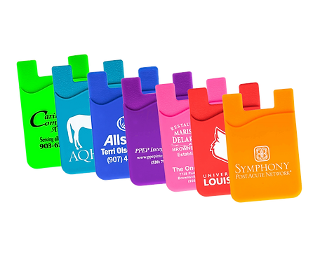 Branded promotional silicone smart wallets tradeshow gifts pantone colour matched printed with company brand logos.