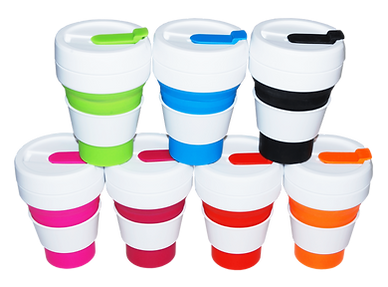 Promotional eco-friendly stojo collapsible silicone drinkware pocket cups with foldable design and leak proof lids.