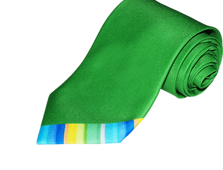 Full colour digitally printed promotional neckwear, bespoke custom-made polyester ties with rainbow stripes.