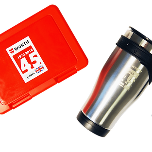 Branded promotional corporate gifts, lunch boxes screen printed and thermal flasks engraved with company logo.