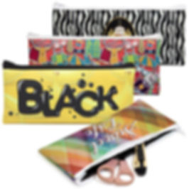 Promotional stationery products ideas, neoprene pencil cases bags bespoke gift with full colour sublimation printed logos.