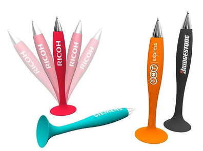 Branded promotional stationery products ideas silicone suction colourful ball pens with personalised company logos.