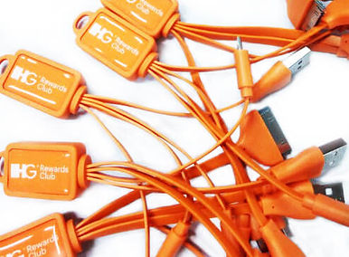 Promotional epoxy powerlink multi-cables adaptors chargers keyrings, technology products with full colour printed company logos.