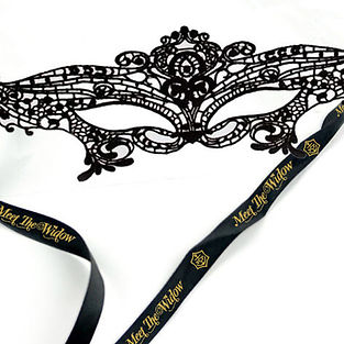 Branded promotional halloween lace masquerade eye mask, bespoke ribbon printed with London theatre shows logo.