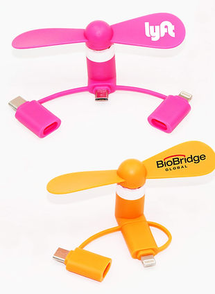 Promotional electric mobile phone fans corporate gift for iphone and Samsung with personalised printed company logo.
