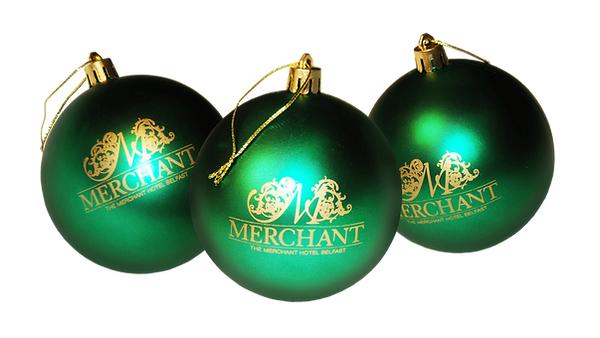 Bespoke corporate luxury high-end gifts, promotional branded Christmas decorations baubles printed with The Hotel logos.