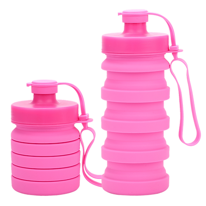 Promotional eco-friendly collapsible silicone drinkware, refillable water bottles with foldable design and leak proof lids.