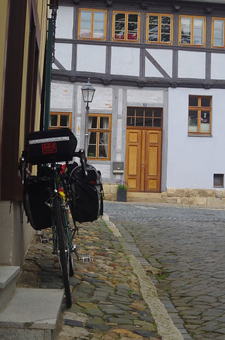 Steve Dyster's bicycle on tour in Quedlinburg, Germany, seeking inspiration for writing