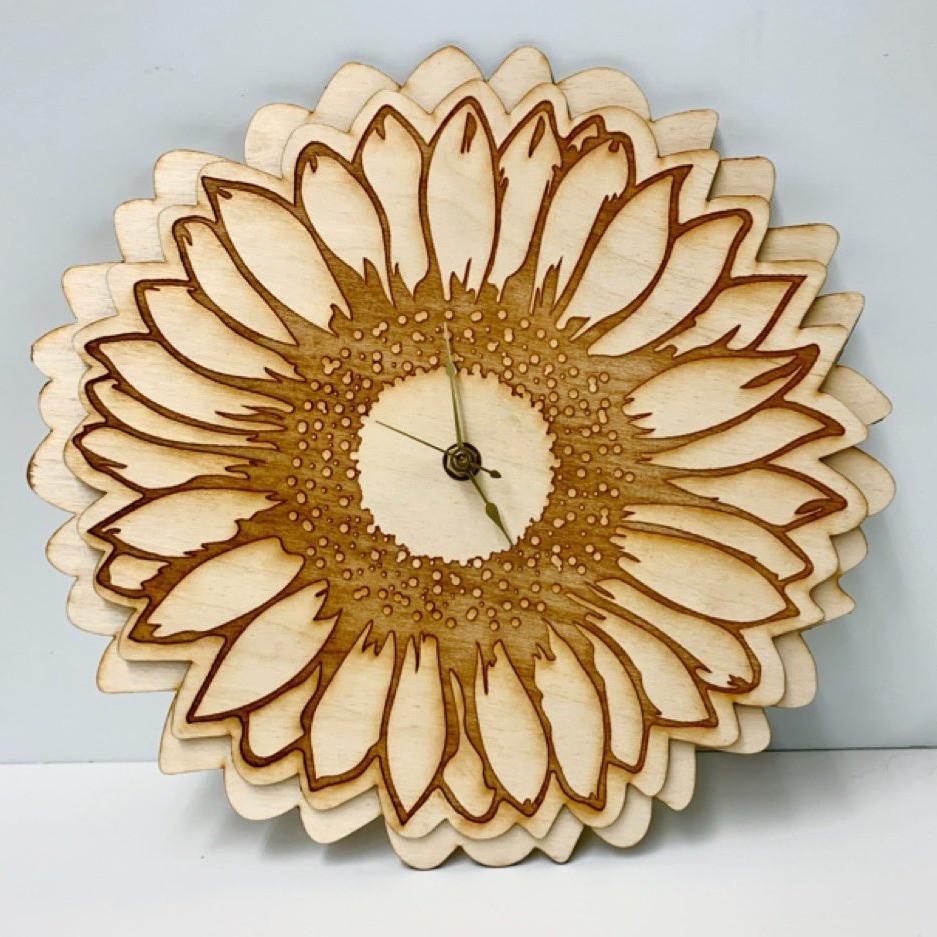 Laser Cut Sunflower Clock