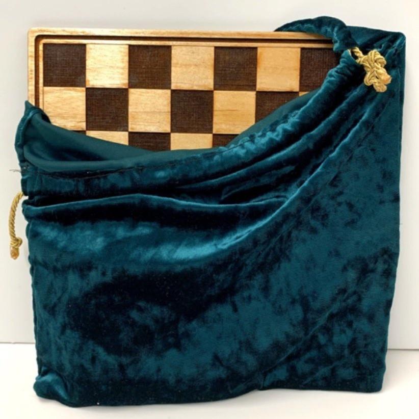 Hand-Sewn Velvet Drawstring Checkerboard Bag