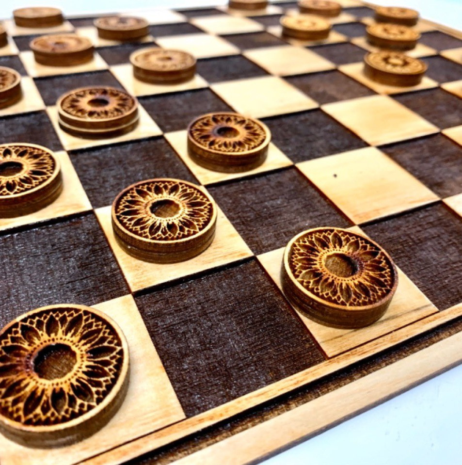Laser Cut Sunflower Checkerboard and Checkers