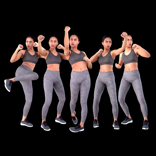 3D Female Scan Calypso Fighting Stances Bundle Model