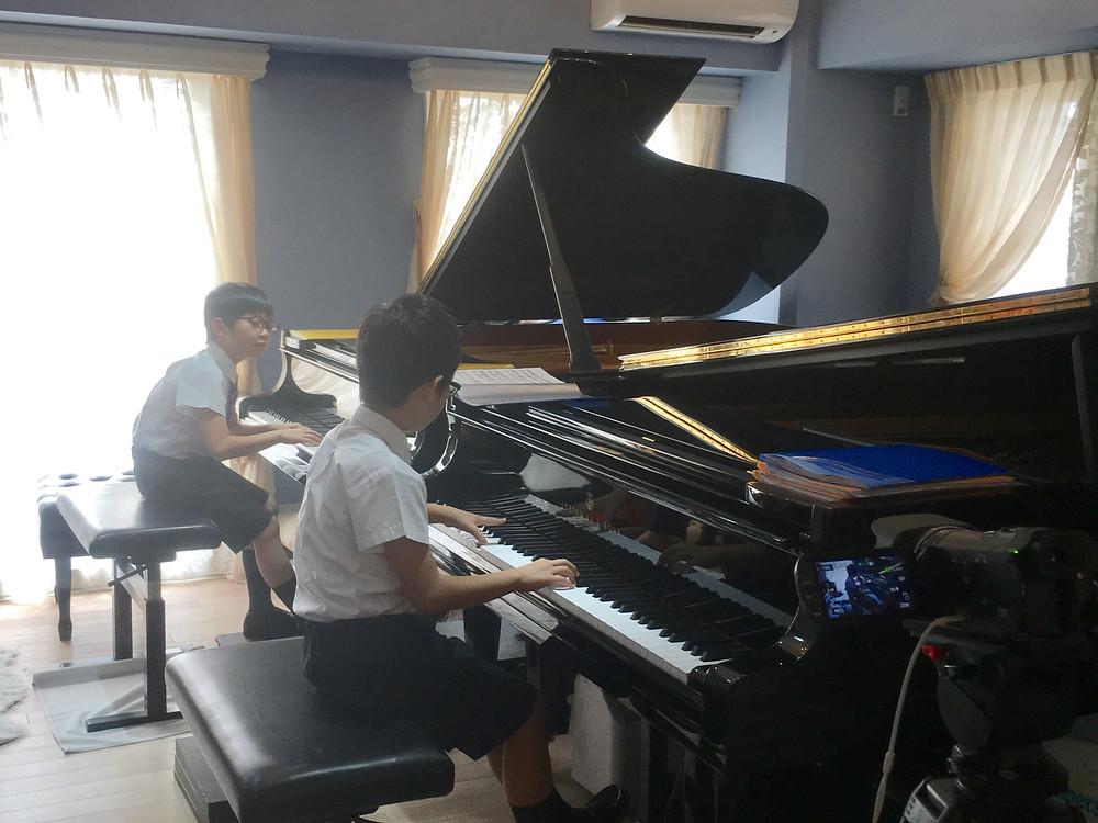 全国大会直前の二台ピアノ練習