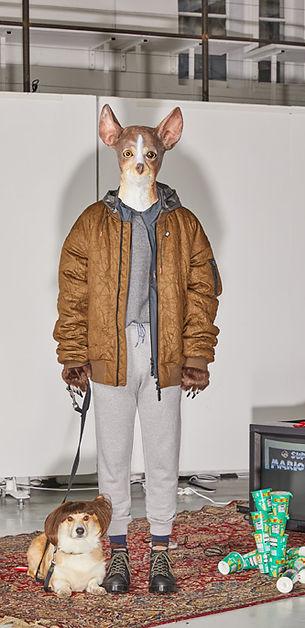 Dog Head Mustard Bomber Jacket Grey Sweatpants