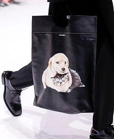 Balenciaga Black Leather Tote Bag Dog Cat Print