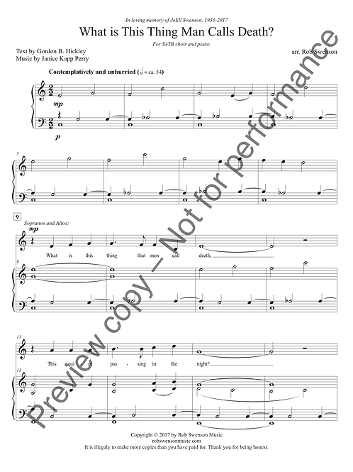 What is This Thing that Man Calls Death? (SATB choir and piano)