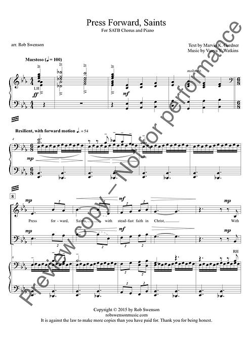 Press Forward, Saints (SATB choir and piano)