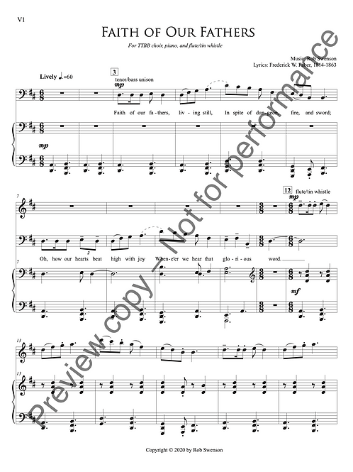 Faith of Our Fathers (for TTBB choir, piano, and tin whistle or flute)