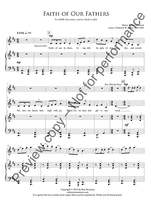 Faith of Our Fathers (SATB choir, piano, and tin whistle or flute)
