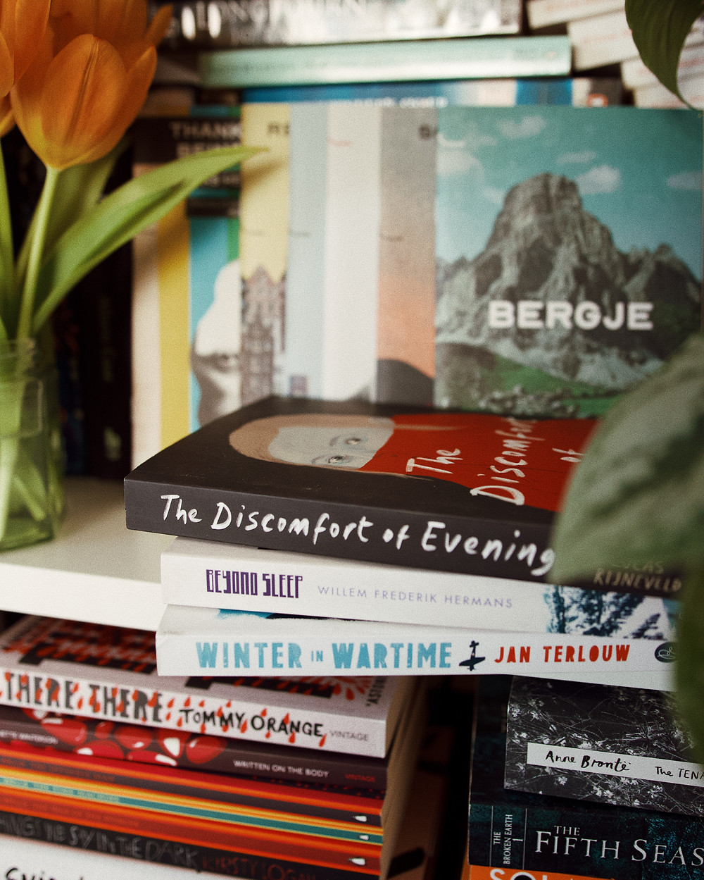 A collection of books including 'The Discomfort of Evening', 'Winter Wartime' and 'Beyond Sleep'