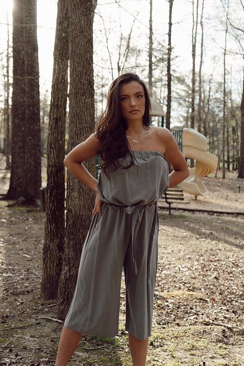 Grey Silk Jumpsuit