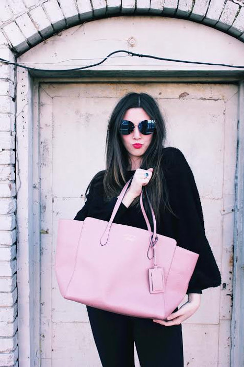 Authentic Pink Large Gucci Leather Tote Bag