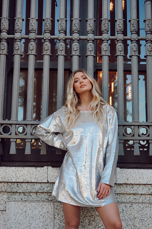 Silver Sequin Dress by Kendall + Kylie
