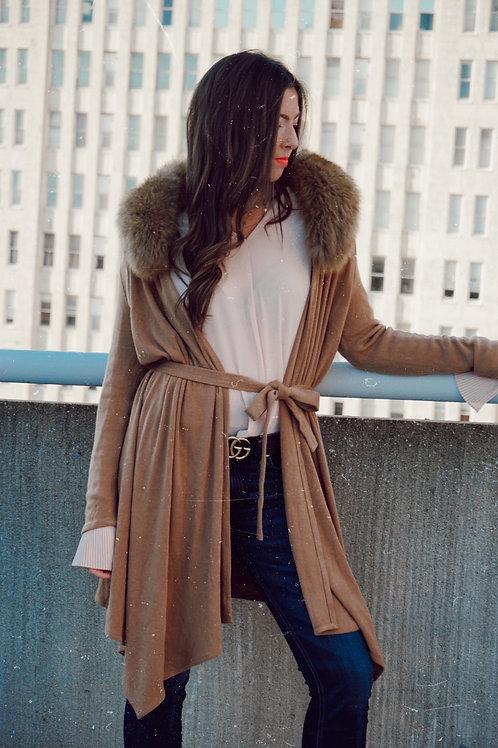 Alice + Olivia Camel Tie Cardigan Real Fur Collar
