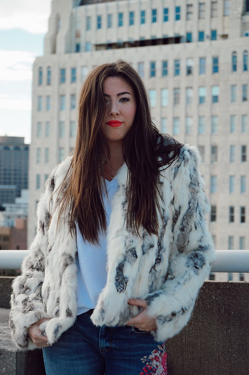 Cream and Charcoal Real Fur Jacket