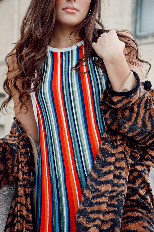 Free People Metallic Striped Dress New With Tags