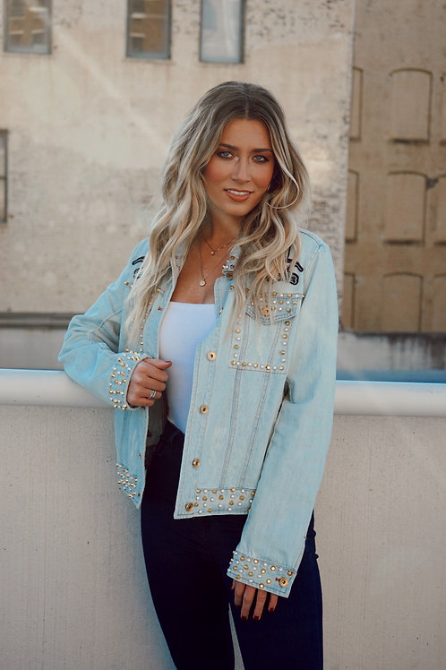 Light Wash Blue Jean Embellished Jackets New With Tags