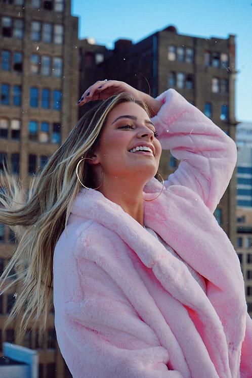 Ballerina Pink Faux Fur Jacket
