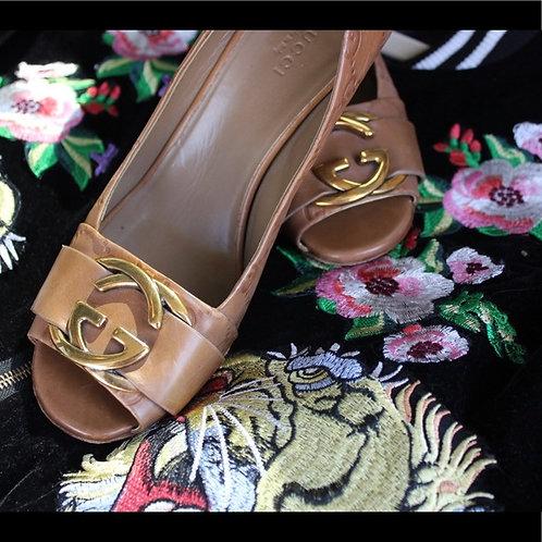 Gucci Caramel GG Embossed Heels