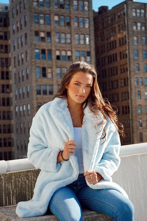 Powder Blue Faux Fur Jacket