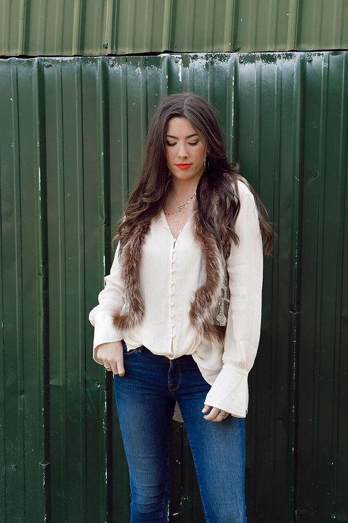 Alice + Olivia Beaded Fur Vest