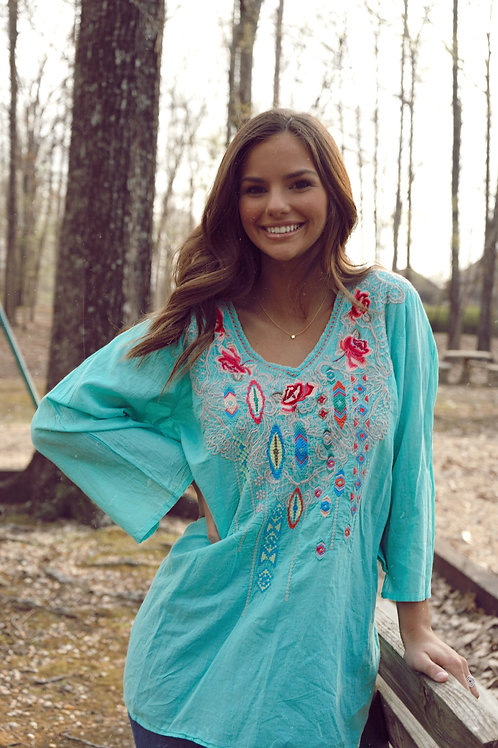 Johnny Was Turquoise Embroidered Tunic New With Tags