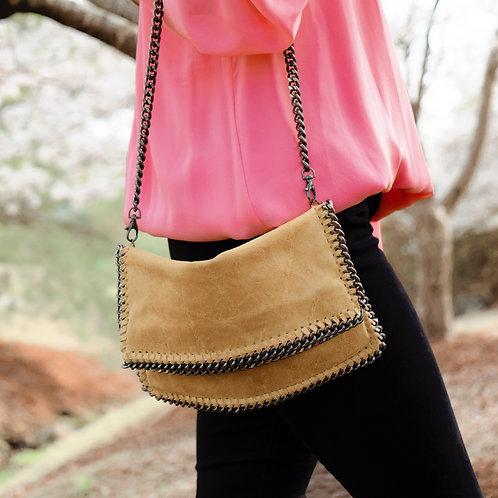 Mustard Crossbody Leather Chain Bag