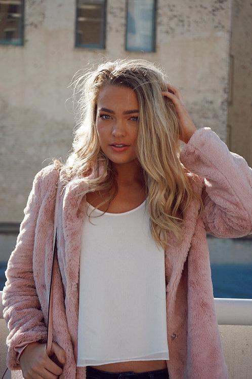 Pink Faux Fur Jacket by Jou Jou