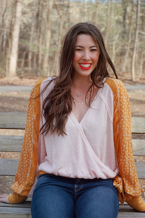 Free People Pink & Yellow Tie Top
