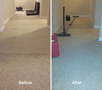 Before and after photo of carpet stretching