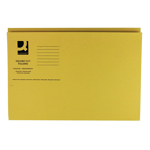 Q-Connect Square Cut Folder Mediumweight 250gsm Foolscap Yellow (Pack of 100)